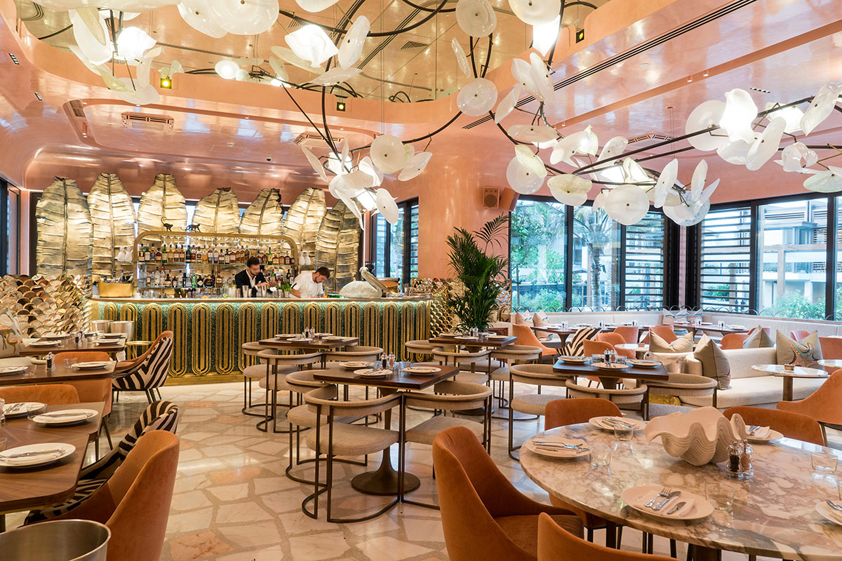 Basstudio designs Dubai's Flamingo Room by Tashas inspired by African wilderness