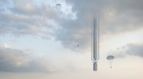 Tower which hangs from space could be built over Dubai