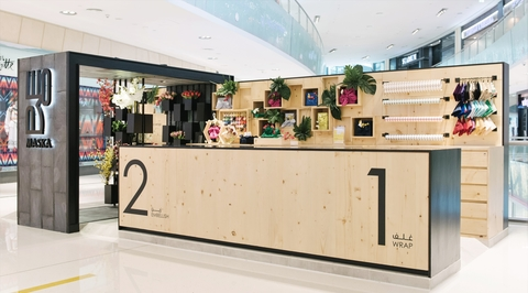Sneha Divias creates 360 degrees wooden kiosk for department store in Dubai Mall