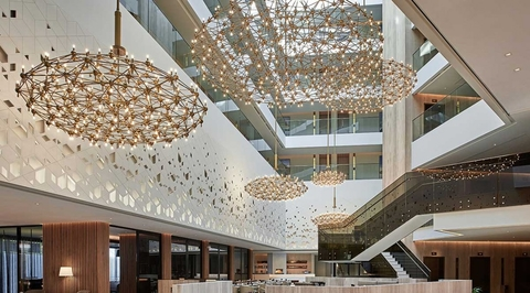 Mysk Al Mouj Hotel interiors by GAJ references Oman's traditions and topography