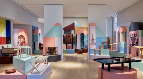 New installation by Hermes stages objects against architectural volumes and playful colours