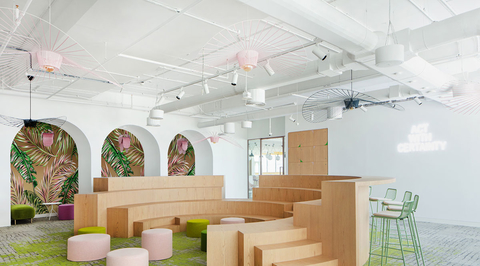Roar designs pastel-hued office space which brings cultural context into a corporate environment