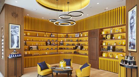 The interior of Acqua di Parma boutique by Kirei Studio references the brand's Italian roots
