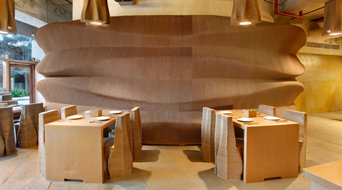 Cafe in Mumbai by NUDES is made almost entirely from cardboard