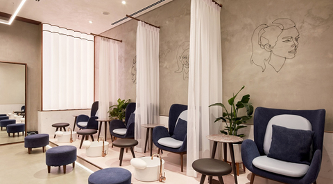 H2R Design creates women's salon with a softer interpretation of industrial elements in Abu Dhabi