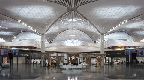 'World-longest' parametric wall connects six lounges in Istanbul Airport