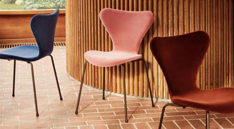Fritz Hansen unveils Arne Jacobsen's iconic chair dressed in Italian velvet