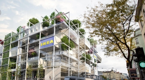 Green facades, no parking: The new IKEA store in Vienna