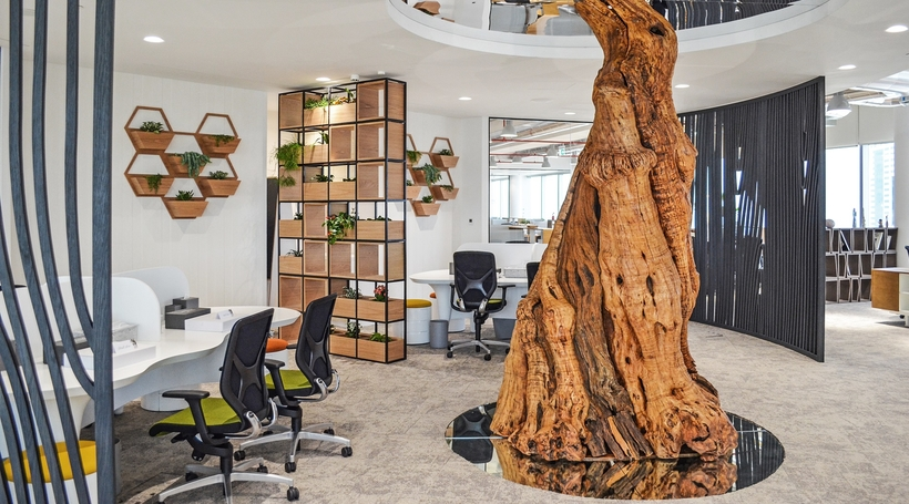 How does office decor affect employee efficiency?