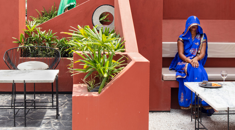 New Delhi-based studio designs cafe that resembles an Indian village