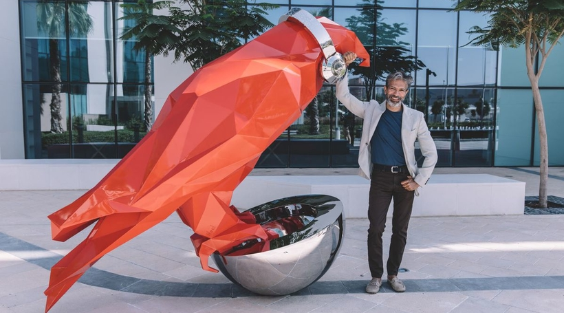 Artist Neel Shukla brings falcon sculpture to Radisson RED Dubai