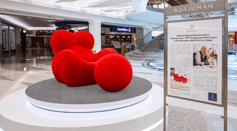 Italian designer Gaetano Pesce's 'feminist' chair 'UP' on display at BurJuman