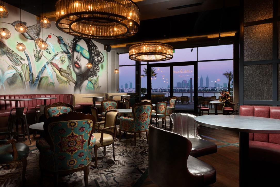 Aji restaurant, Club vista Mare, Dubai, F&B design, Industrial design, Keane, Nikkei style, Open-plan kitchen, Peruvian design, Restaurant design, The Palm