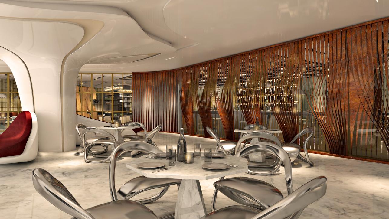 Bishop Design Reveals Versatile Dining Space For Zaha Hadid Designed The Opus In Dubai Projects Products Bishop Design Bishop Design Llc F B Design Food Beverage Interior Design Interiors Me Hotel