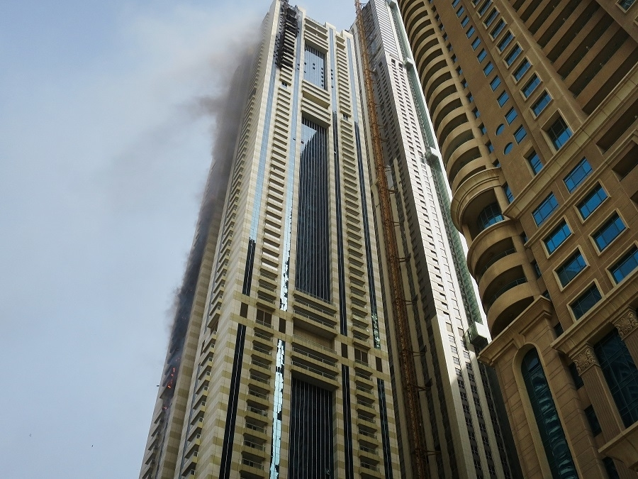 Sulafa Tower Fire in Dubai Marina in 2018.