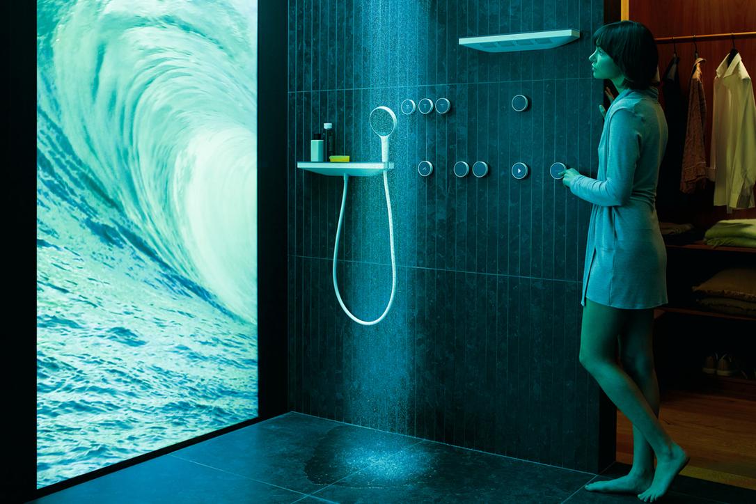 The hansgrohe RainTunes shower creates multi-sensory shower scenarios