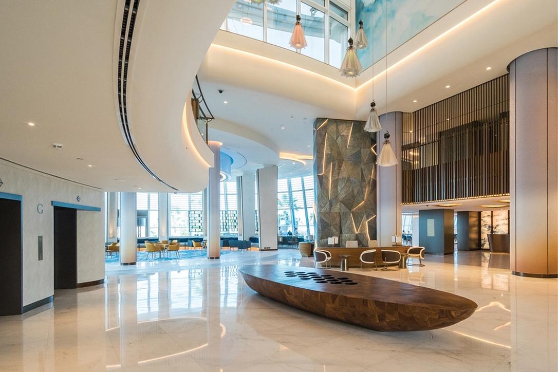 Inside the lobby of Jumeirah Beach Hotel
