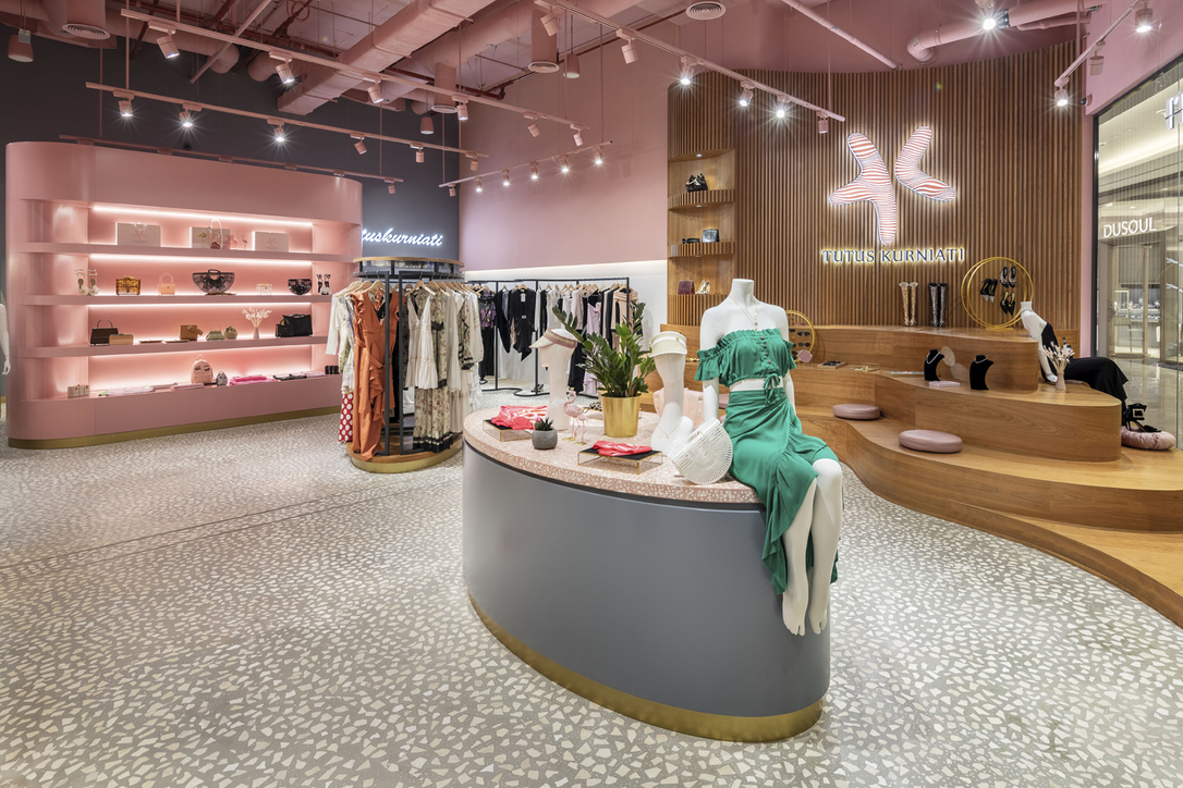 Recycled materials were used by 4SPACE in the interiors of Tutus Kurniati fashion store