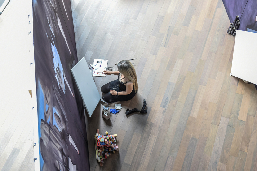 Artist at work during Instanbul Biennial