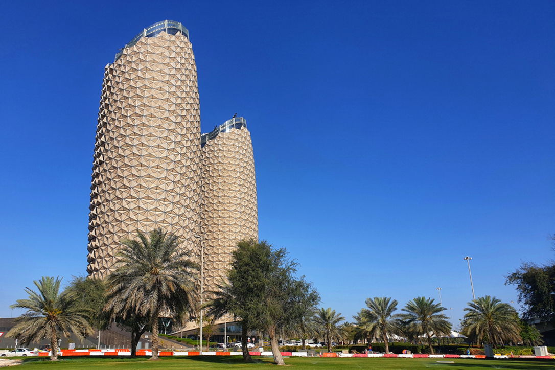 Burj al Bahr, nicknamed the Pineapple Towers of Abu Dhabi, are inspired in their design by traditional Arabic mashrabiya