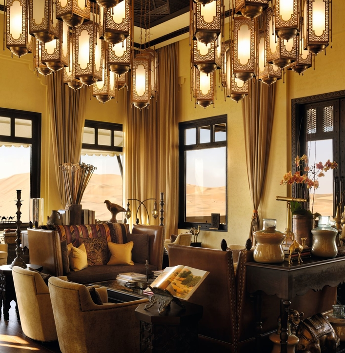 The lavish interiors of Qasr Al Sarab Desert Resort pictured in 2018