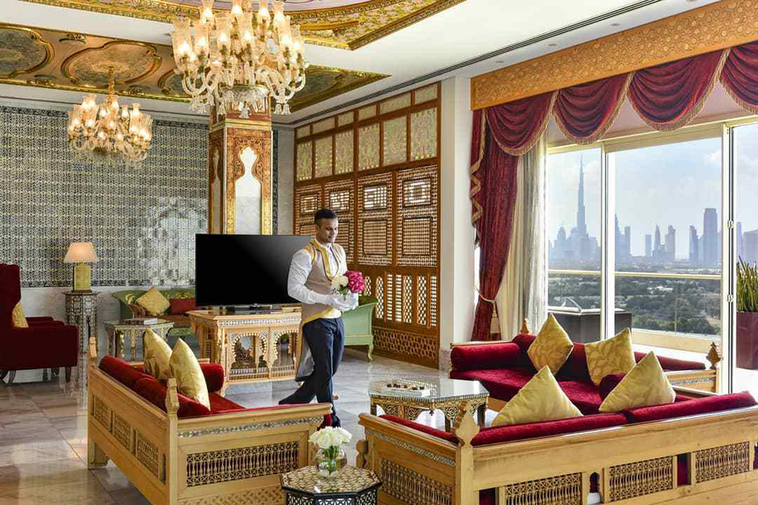Inside the opulent hotel