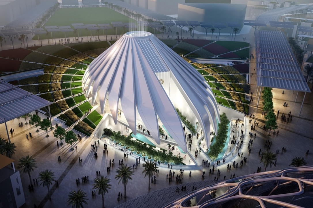 The falcon-inspired UAE pavilion designed by Santiago Calatrava
